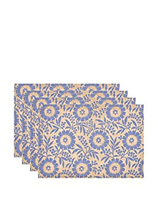 KAF Home Set of 4 Colette Jute Placemats, Periwinkle