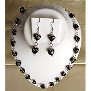 Surya Creations Black Colour Heart Shaped Beaded Necklace
