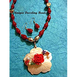 Unique Dazzling Beads Red Rose Magic
