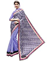 Indian Women Brasso And Georgette Purple Half & Half Saree