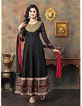 Cotton Embroidered Black Long Anarkali Suit -JSN901