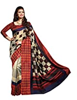 Maroon & Beige Colour Faux Bhagalpuri Semi Party Wear Geometric Printed Saree 13350