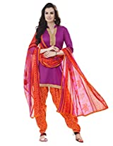 Inddus Women Purple & Orange Cotton Satin Unstitched Dress Material