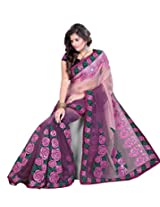 Sangam Dark Purple Sheded minakari Work Saree