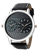 Exotica Analog Black Dial Men's Watch (EF-55-Dual-LS-B)