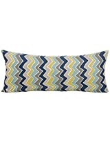 Sweet Potato Uptown Traffic Rectangular Bolster Pillow, Cream/Avocado/Grey/Royal Blue