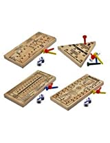 Wooden Peg Board Travel Games, Golf, Basketball, Football And Triangle Jumping Peg, 4 Ct Set