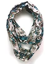 ScarfKing Floral printed Snoods-Half White Multi