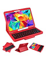 """SUPERNIGHT Samsung Galaxy Tab 4 10.1 Case with Keyboard - Ultra Slim Detachable Bluetooth Keyboard Portfolio Leather Case Cover for Samsung Tab 4 10.1"""" Inch T530 T531 T535 Tablet , Red Color"""