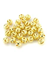 Beadnova Silver / Gold Plated Matel Beads Stardust Stripe Sparkle Hollow Round Beads 4mm 6mm 8mm 10mm Gold Plated Hollow Stardust Stripe Beads/8mm AD