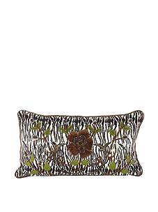 "John-Richard Collection Hand-Embroidered and Beaded Safari Print Velvet Pillow, 13"" x 12"""