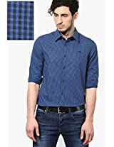 Blue Solid Casual Shirt