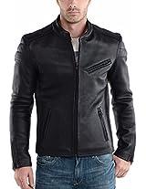 HugMe.fashion Men's Leather Jacket (JK16_Black_3XL, Black, 3XL)