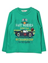 Beebay Boys Fast Wheel Car Print T-Shirt (B0815204703717_Green_11Y)