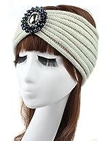 Jelinda Women Girls Crochet Rhinestone Bead Headband Knit Headwear Ear Warmer Turban Headwrap (Beige)