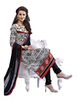 Admyrin Off-white Printed Salwar Kameez With Embroidered Neck Line