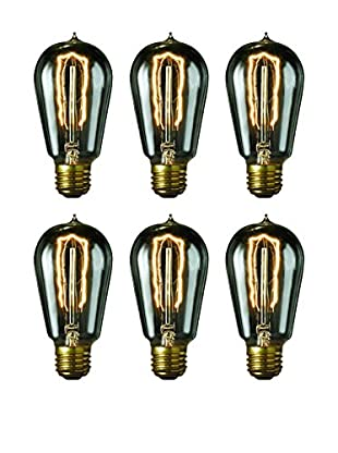 Bulbrite 6-Pack 40-Watt Nostalgic Edison St18 Bulbs with Vintage Hairpin Filaments, Smoke