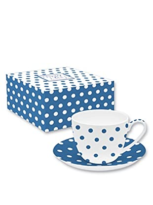 Easy Life Design Tazza Colazione con Piatto in Porcellana Bone China Happy Pois (Blu)