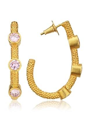 Zariin Splendid Pink & Gold Hoop Earrings