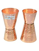 Dungri India Craft ® (Set of 2) Premium Hammered Solid Copper Jiggers - Shot Glasses - New Beer Bar Collection / Wine Glasses/Double Shot Glasses