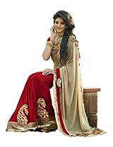 Janasya women's Biege color Chiffon sareee