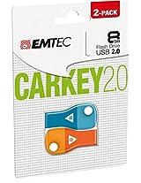 Emtec Flash Drive 8GB USB 2.0 Car Key, 2-Pack (ECMMD8GD302P2)