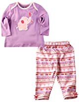 Infant Girls Full Sleeves Tee with Printed Legging, Purple (0-6 Months)