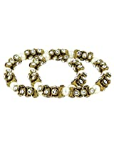 The Jewelbox Antique Pearl Cz Gold Plated Stretchable Pair Of Anklet