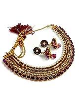 Divinique Jewelry GRAND PURPLE PEARL POLKI NECKLACE SET