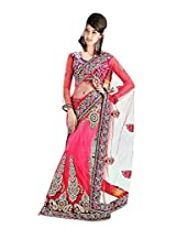 Indian Glamorous Pink Colored Net Lehenga SareeBy Triveni