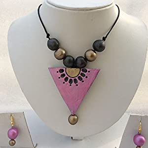 Anikalan Designs Pink Diamond Pendant Terracotta Necklace Set