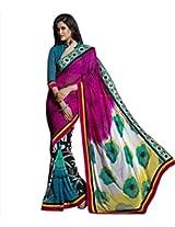 Triveni Colorful Printed Velvet Sleek Border Indian Ethnic Designed Saree