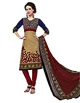 Jevi Prints Beige & Maroon Cotton Printed Unstitched Dress Material