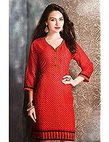 Cotton Jacquard Print Red Stitched Frock Style Kurti - 29213 - XXL
