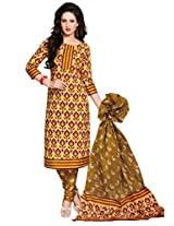 Salwar Studio Yellow & Olive Green Cotton Dress Material with Dupatta SHIMAYAA-1202