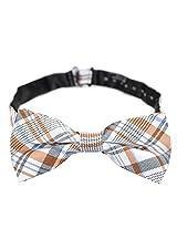 PenSee 100% Silk Mens Pre-tied Bow Tie Geometric Orange & White & Grey Bow Ties