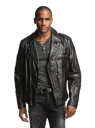 Denim & Leathers by andrew Marc Men's Moto Leather Jacket (Jet Black)
