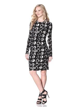KAMALIKULTURE Women's Long Sleeve Crewneck Dress (Black/White)