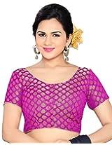 Studio Shringaar Wedding Magenta Self Design Short Sleeve Non-Padded Blouse