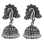 Silver Brass Oxidised Silver Pearl Fashion Stud Earring peacock stud designer german silver antique
