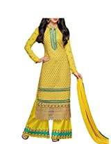 Admyrin Women's Yellow Georgette Salwar Kameez