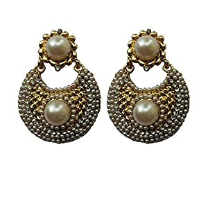 Unicorn Ethnic Earrings with Pearl in Antique Polish for Women - UEBLCSTPRL-02