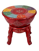 Handmade Red Wood Stool Floral Hand Painted By Rajrang