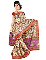 Somya Women's Bhagalpuri Silk Printed Orange Saree