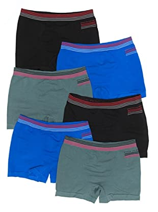 Pierre Cardin Pack 6 Boxer Sin Costuras Rayas (Negro / Azul / Verde)