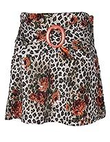 Cutecumber Girls Polyester Floral Printed Orange Kneel Length Skirt
