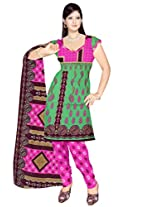 Sonal Trendz Green & Pink Color Cotton printed Dress Material