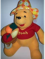 "12"" Winnie The Pooh Wearing Hat And Holding A Basket Of Vegetables"