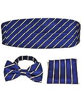 PenSee Formal Deep Blue Gold Stripe Pre-tied Bow Tie & Pocket Square & Cummerbund Set