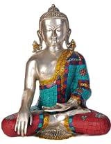 Exotic India Lord Buddha in Bhumisparsha Mudra (Inlay Statue) - Brass Statue with Inlay